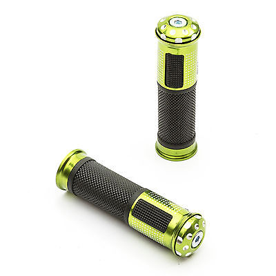 Motorcycle Handlebar Grips 7/8 22mm Green Alloy Rubber Bar End Weight Motorbike