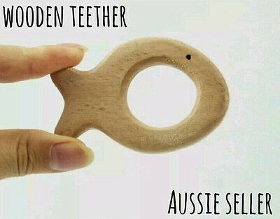 X1 Natural organic wooden teether baby toy dummy clip large ring fish teething
