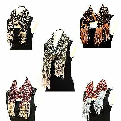 Ladies Fashion Scarf - Large Viscose Soft Long Scarf with Fringes