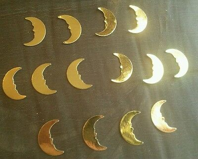 40x small shiny gold moon card cut out craft embellishment die cuts