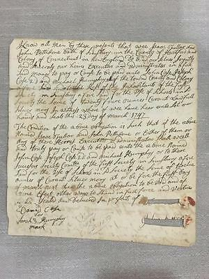 1747 Simsbury Connecticut First Society Document Fuller Pettibone Case