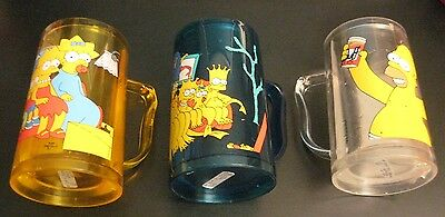 Warehouse Find! Lot of *3* SIMPSONS FREEZER BEER MUGS, NEW/MINT! Great Graphics!