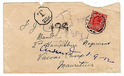 1912 South Africa/Transvaal to Mauritius Military Taxed x 2 Cover/Hampshire Regt