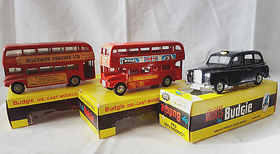 Budgie Toys 2x #237 AEC Routemaster Bus and #101 London Taxi  all boxed
