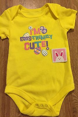 "Infant  Girls Size 0-3 M  "" I'm Eggs- Trembly Cute!"" One Piece   NWT Yellow"