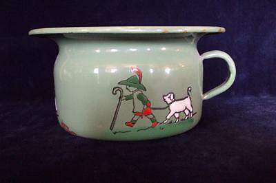 Childs Green Enamel Chamber Pot Raised Enamel Enamelware Boy With Dog Germany