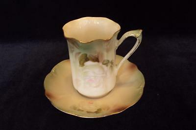 Rs Prussia Chocolate Cup And Saucer Rose Pattern