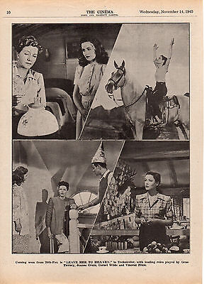 1945 A4 Film Trade Magazine Page Leave Her To Heaven Gene Tierney Jeanne Crain a