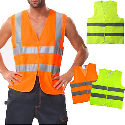 Yellow Hi Vis Vest Safety Workwear Men High Visibility Reflective Waistcoat Tops
