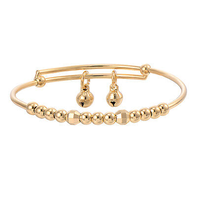Toddler Jewelry Baby Kids Beads Yellow Gold Filled Bell Cute Bangle Bracelet