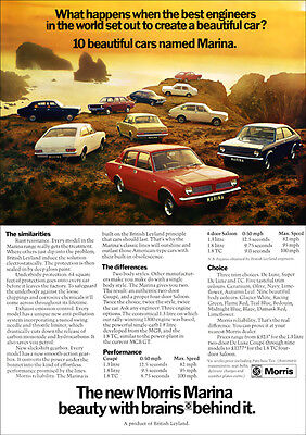 Morris Marina Tc Coupe & Saloon Range Retro A3 Poster Print From 70's Advert