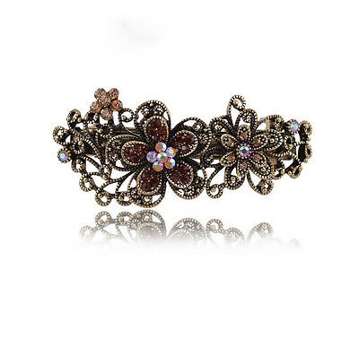 Vintage Flower Hair Pin Crystal Rhinestone Plum Barrette Clip Fashion