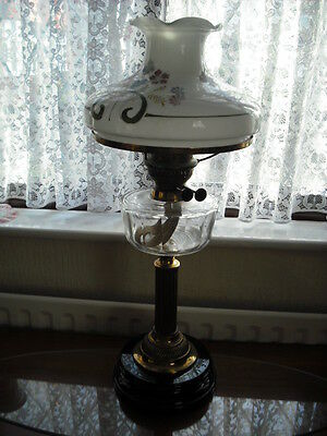 Victorian Oil Lamp With Beautiful Hand Painted Vista Shade.