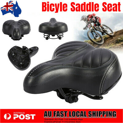 Black Unisex Wide Big Bum Bike Bicycle Cycling Sprung Comfort Soft Saddle Seat