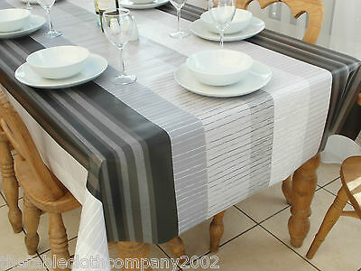 140 x 200cm Rectangle Wipe Clean PVC Tablecloth - Grey & Black Stripe