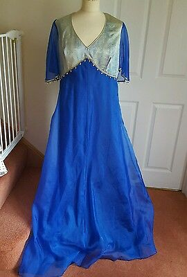 Ladies Blue Silver Ethnic Style Gown Pantomime Stage Aladdin size 16