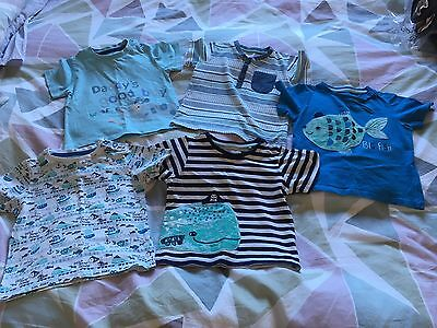 Bundle Of 5 Boys Tshirts In Excellent Condition Aged 12-18 Months