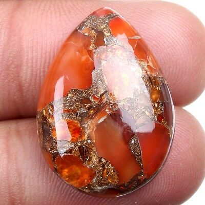 Excellent CARNELIAN COPPER MOHAVE PEAR Cabochon 25x18 mm Gemstone 17 Carats