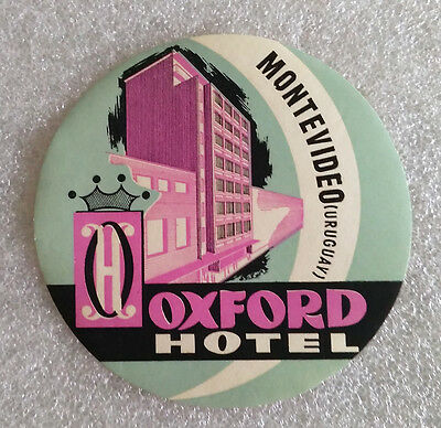 Vintage Rare ✱ HOTEL OXFORD / MONTEVIDEO ✱ Hotel luggage label Kofferaufkleber