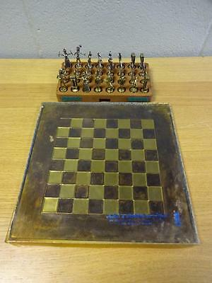 Vintage Greek Mythological Character Chess Set with Board Gold Silver
