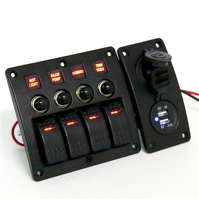 4 Gang Red LED Rocker & Circuit Breaker Switch Panel Dual USB+12v Power Adapter