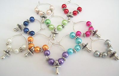 10 X Baby Shower Drink Glass Rings Dummy Dummies Charms  Babies Mother To Be