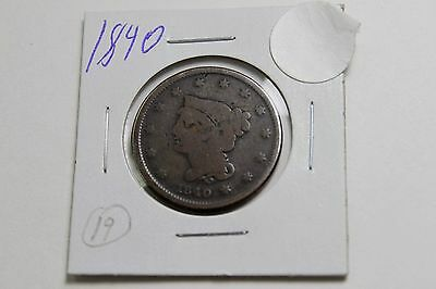 1840 Braided Hair Large Cent (Penny)