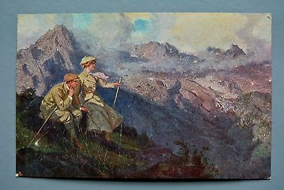 R&L Postcard: Walking Hiking Couple, Scotland? to Windross Family of Rowdon?