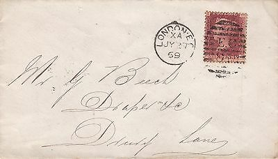 GB 1869 London EC Plate 113 1d Red Cover to Drury Lane