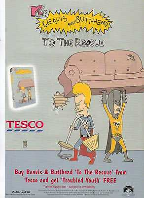A4 Original Advert for the Video Release of Beavis and Butt-Head to the Rescue