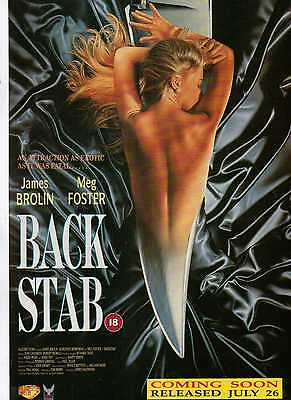 A4 Original Advert for the Video Release of Back Stab James Brolin Meg Foster