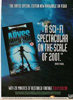 A4 Original Advert for the Video Release of The Abyss