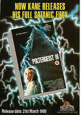 A4 Original Advert for the Video Release of Poltergeist 3