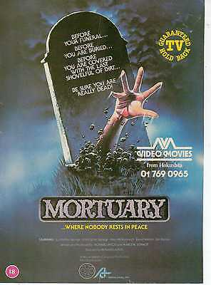 A4 Original Advert for the Video Release of Mortuary