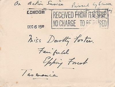 GB London 1915 Received From HM Ship Cover to Tasmania Australia