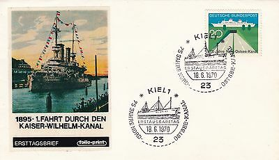 Germany 1970 Illustrated Ship Cover Warship in Kiel Canal Not Mailed