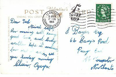 Llanelly Carmarthen 1954 5 Town Views PC Taxed 1d postage due to Towcester