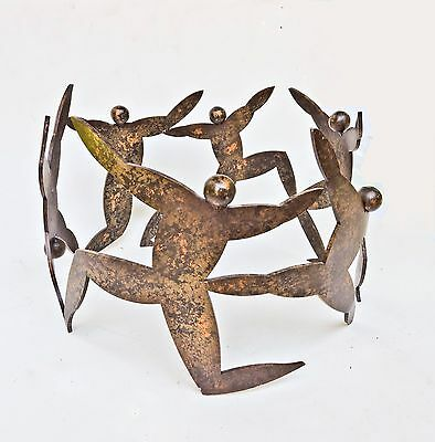Circular Steel Plant Stand Sculpture Matisse Style Abstract Dancing Figures