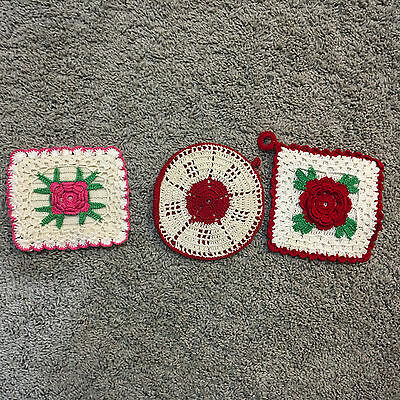 Lot Of 3 Vintage Hand Crocheted Pot Holders  Red & White Valentine Perfect!
