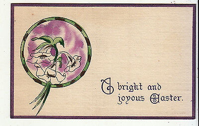 A Bright and Joyous Easter Green Circle White Flowers Vintage Card