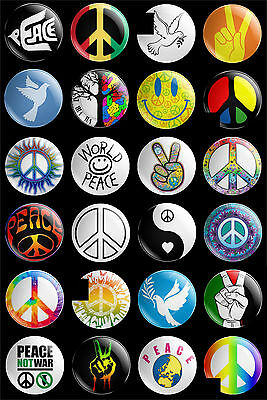 set of 24 x 30mm world peace theme button badges