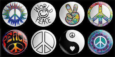 set of 8 x 30mm World Peace Theme button badges