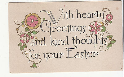 With Hearty Greetings and Kind Thoughts for Your Easter Vintage Card