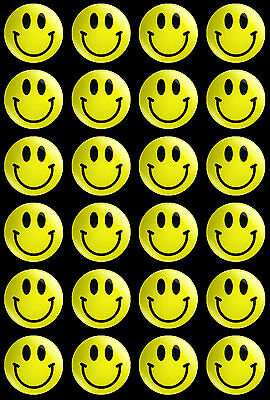 set of 24 x 30mm Smiley Face theme button badges
