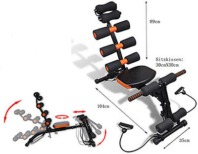 6 in 1 Multi-Function Body Exercise System Ab Trainer Crunch Workout Gym Bench