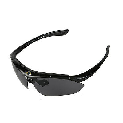 RockBros Cycling Outdoor Polarized Glasses Sunglasses Goggles 5 Lenses Black