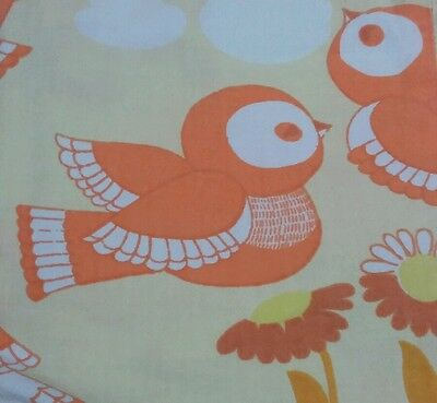 Vintage Bettwäsche bedding set Vögel Spatzen birds 70s 80s fabric Graziela Ära