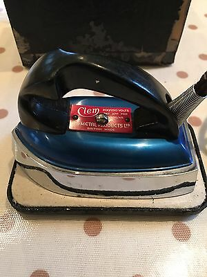 Vintage Clem Travel Iron In Original Box 1950s Blue.
