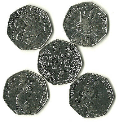 Beatrix Potter set of  5 x 50p coins, Peter, Jemima, squirel, and tiggywinkle