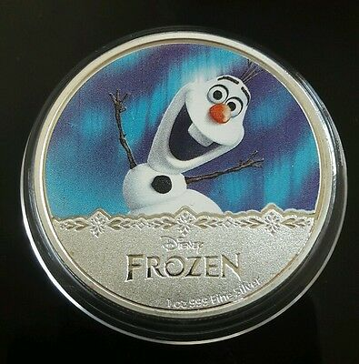 New Zealand 2016 Silver Plate Disney Frozen Coin In Capsule.  (#5)